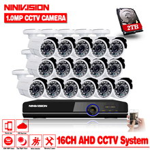 16CH Surveillance System 16 720P Outdoor Security Camera 16CH CCTV DVR Kit Video Surveillance iPhone Android Remote View 2TB HDD