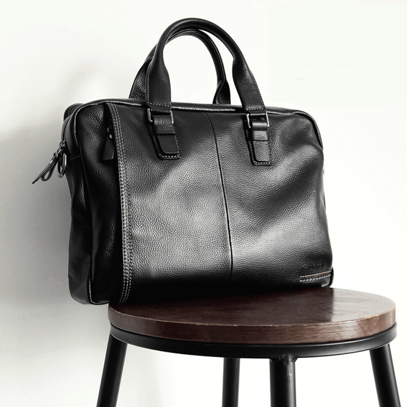 2019 New Natural Cowskin 100% Genuine Leather Men's Briefcase Fashion Large Capacity Business Bag Black Shoulder Laptop Bag