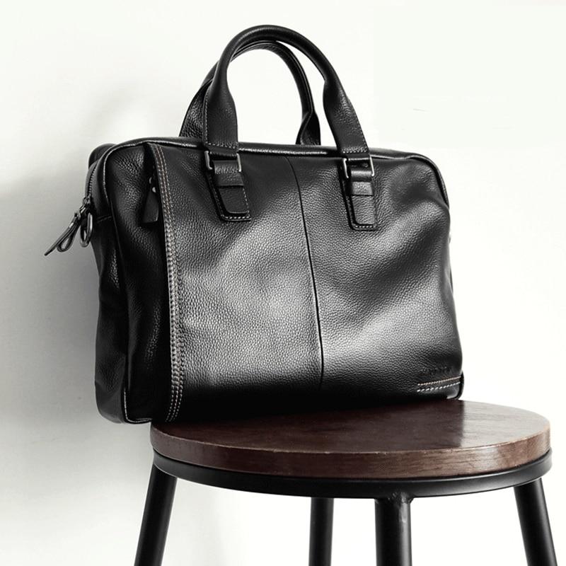 2019 New Natural Cowskin 100% Genuine Leather Men's Briefcase Fashion Large Capacity Business Bag Black Shoulder Laptop Bag