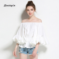 Seamyla New Slash Neck Ruffle Blouse Shirt Women Flare Sleeve Pearl Beading Blouse Female Elegant Fashion