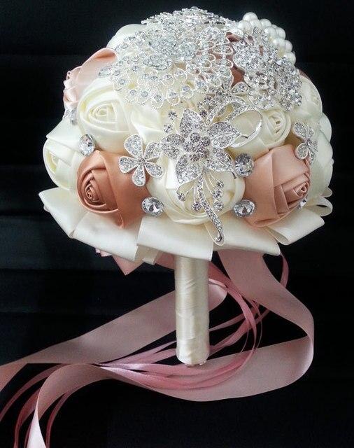 Элегантный Вискоза Розы свадебные Холдинг Цветы брошь Свадебный Букет кристалл FW145