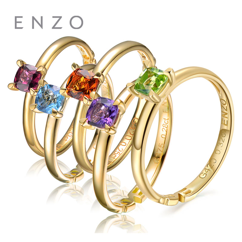 ENZO Natural Gemstone 0.25 Ct Cushion Cut Peridot 9K Yellow Gold Ring For Women Garnet /Blue Topaz/Amethyst/Citrine Avalible enzo natural gemstone certified garnet earrings 9k yellow gold fashion ear line for women earrings a pair of earrings