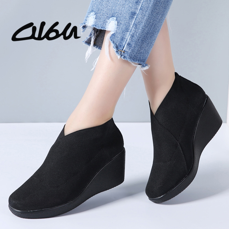 O16U Spring Women Flats Shoes Flat Platform Slip on Casual Leather Sneakers Women Loafers Black Fabric