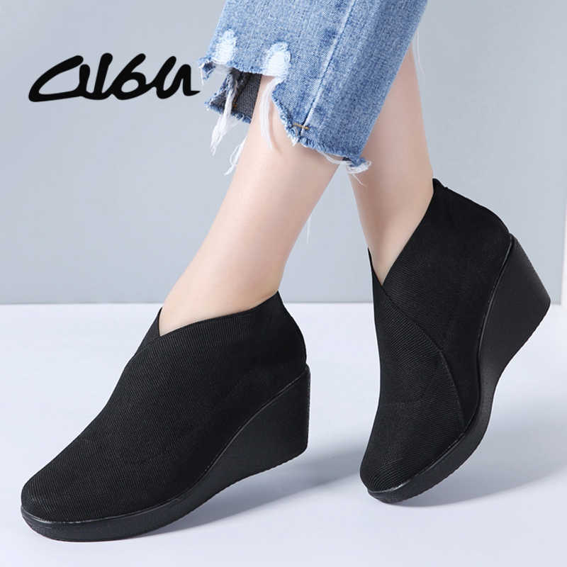 O16U Spring Women Flats Shoes Flat Platform Slip on Casual Leather Sneakers  Women Loafers Black Fabric 7e5b101d7b5