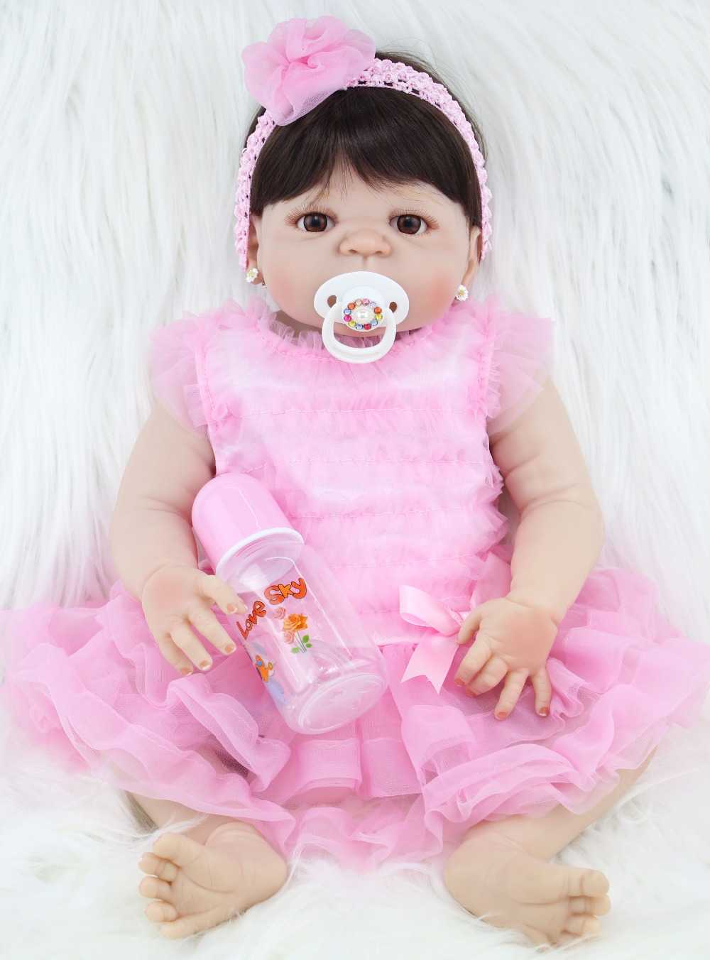 NPKCOLLECTION 55cm Full Silicone Reborn Girl Baby Doll font b Toys b font Lifelike Newborn Princess