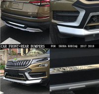 ABS PAINT CHROME CAR FRONT+REAR BUMPERS PROTECTOR GUARD SKID PLATE FIT FOR SKODA KODIAQ 2017 2018 2019 2020