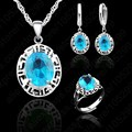 PATICO Elegant Crystal 925 Sterling Silver Pendant Necklace Lever Back Hoop  Earring Ring Wedding Woman Jewelry Sets