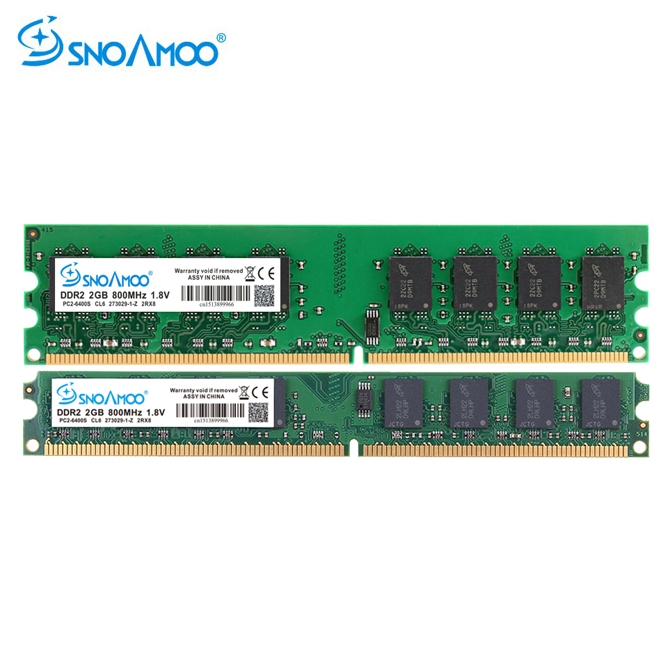 SNOAMOO New DDR2 2GB 800MHz 667MHz Memory PC2-5300 PC2-6400 240 Pin non-ECC Memory for Desktop PC Lifetime Warranty цена