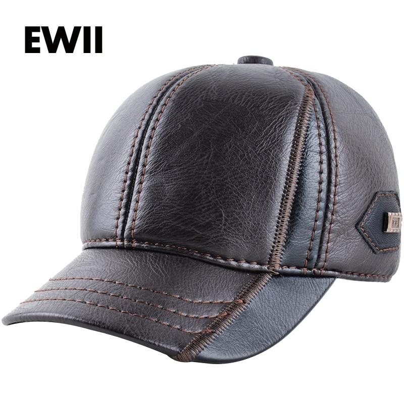 2017 Winter baseball cap for men leathers