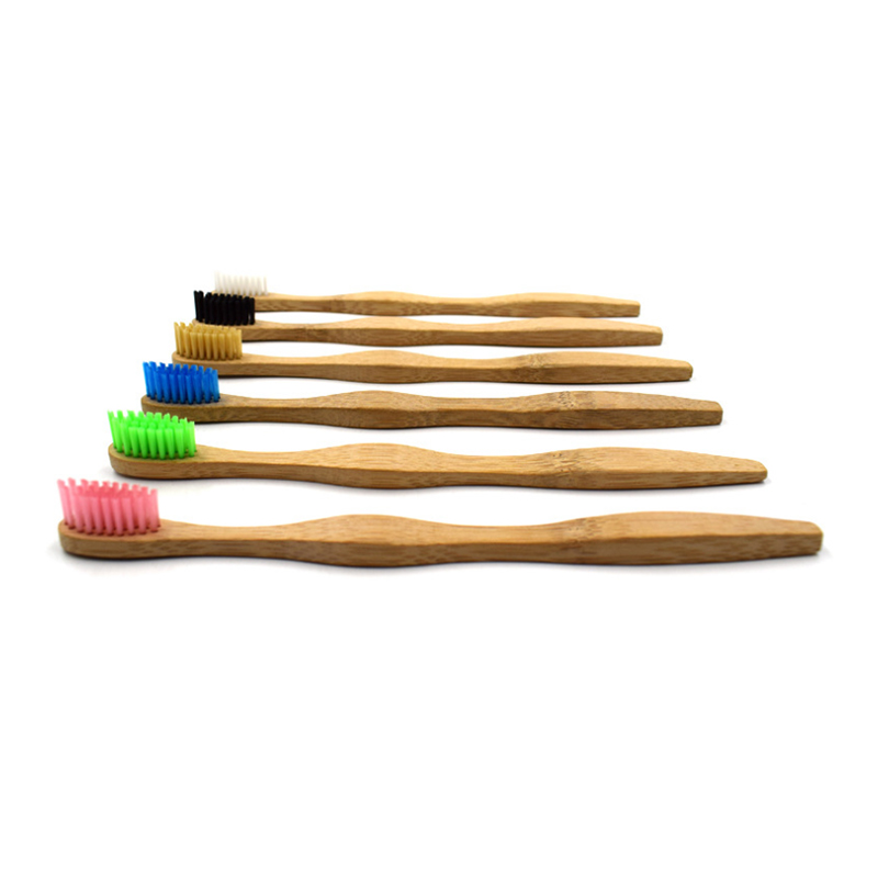1pcs Oral Care Head Bamboo Toothbrush Wholesale Environment Wooden Rainbow Bamboo Tooth brush Soft Bristle for Adults