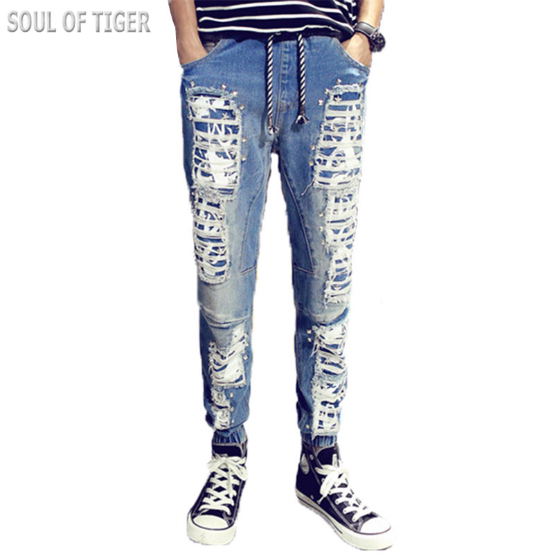 ФОТО Hip Hop Style Trousers 2017 Luxury Brand Mens Biker Jeans Distressed Cotton Denim Men Jean Homme Man Heren Ripped Jeans Big Size