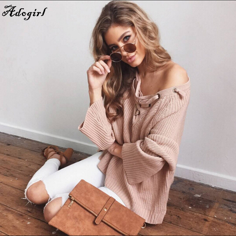 Adogirl Flare Sleeve Knitted Sweater Women Lace Up V Neck Pullover Sexy Pink Orange Jumpers Casual Loose Split Knitwear Outwears