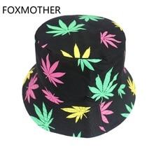 FOXMOTHER New Fisherman Hat Hip Hop Caps Multicolor Leaf Weed Bucket Hats Men Fishing