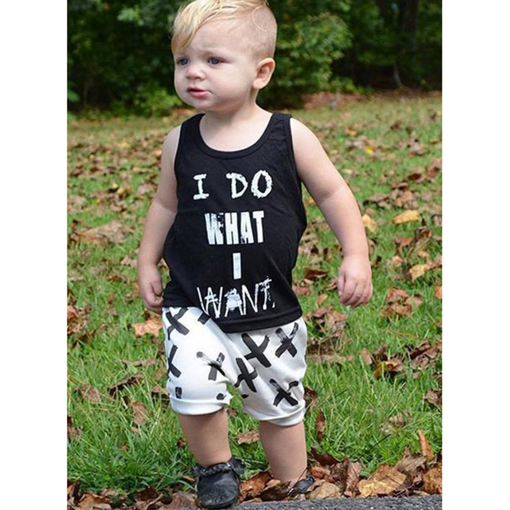 OUTAD 2pcs Summer Boys Set Casual Cotton Sleeveless Letter Printed Tops T-Shirt & Calf-Length Pants Kids Cothes Sets New Sale