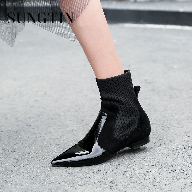 Sungtin Casual Genuine Leather Women Stretch Ankle Boots Fashion Classic Black Flat Chelsea Boots Winter Plush Warm Short Boots xiangxue warm and fuzzy black suede flat boots for winter 2018 chelsea boots for women