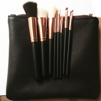8 PCS Makeup Brushes Rose Gold Color Makeup Brush Sets Kits With Bag Brush Clutch Wooden