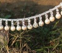 Free Shipping 1 Yard Lot 2cm Pearl Beaded Trims Clear Crystal Rhinestone Chain DIY Curtain Wedding