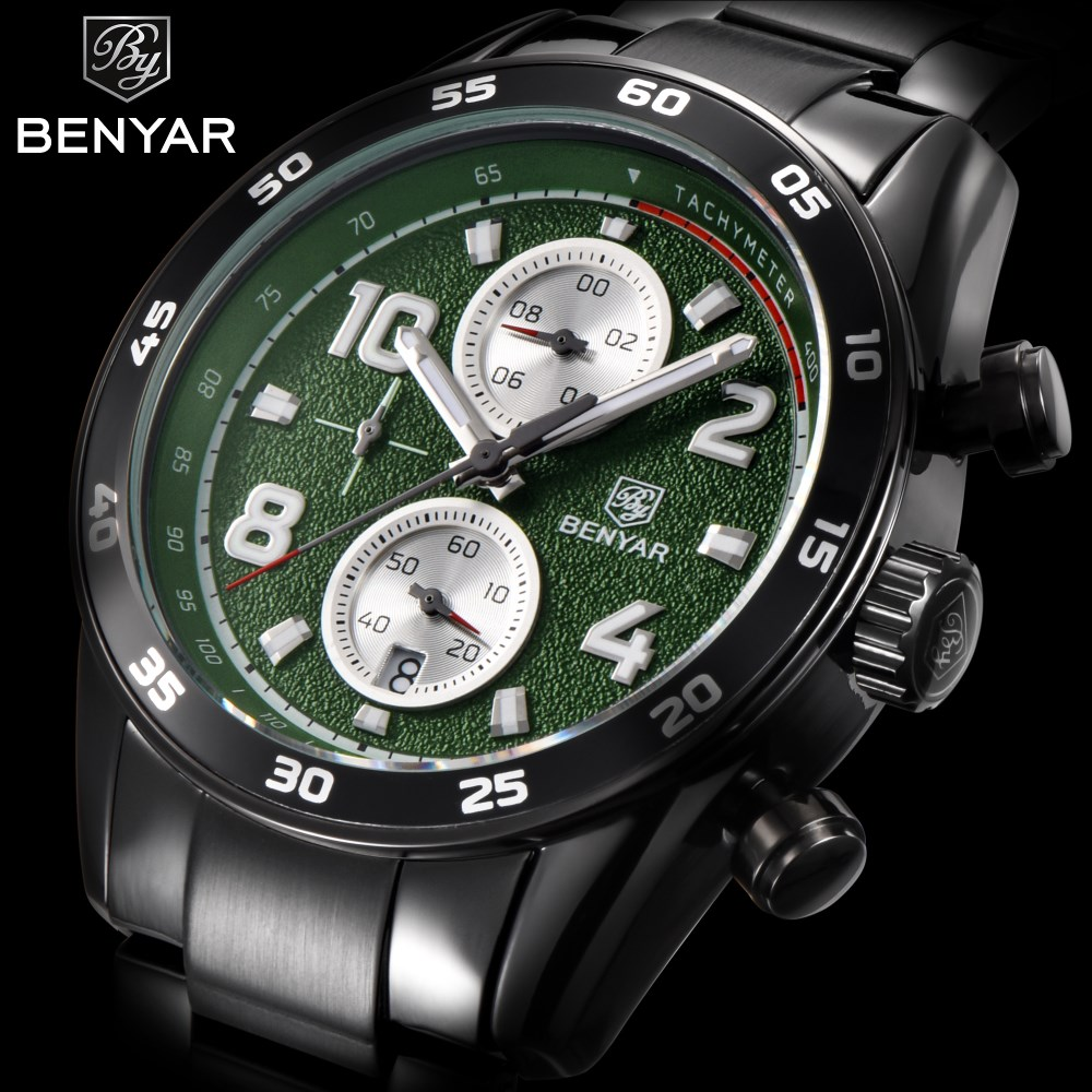 BENYAR Luxury Brand Men Watch Sport Chronograph Stainless Steel Military Waterproof Business QuartzWatches Erkek Kol Saati GreenBENYAR Luxury Brand Men Watch Sport Chronograph Stainless Steel Military Waterproof Business QuartzWatches Erkek Kol Saati Green