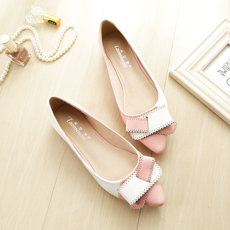 ФОТО 2016 single shoes female 33 pointed toe  foot wrapping bow popular women's shoes Large 41 42 43 free shipping