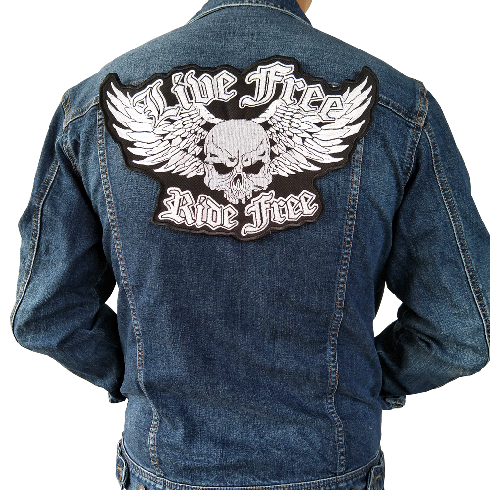 live free ride free Iron On Patch Embroidery Applique Sewing Label punk biker Patches Clothes Stickers Apparel Accessories Badge ...