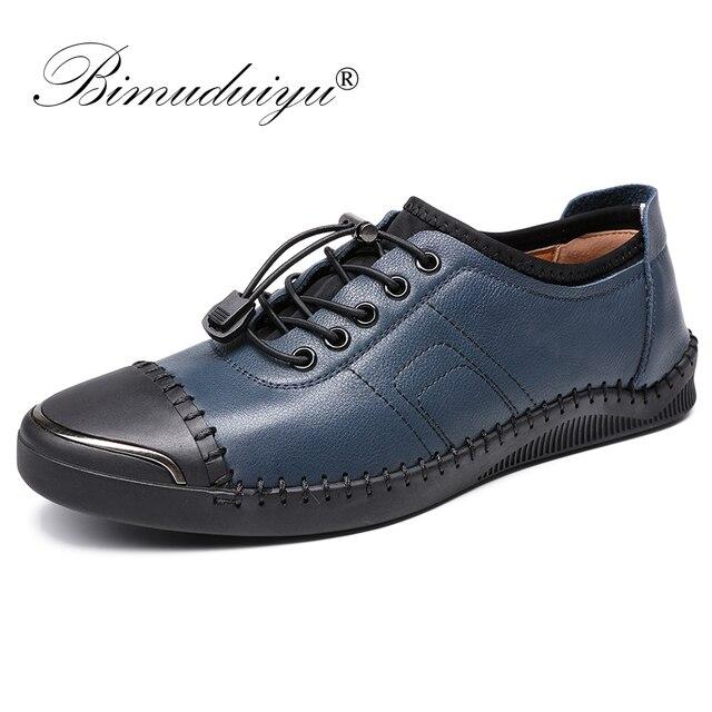 BIMUDUIYU Mannelijke Schoenen Casual Mode Echt Leer Instappers Merk Ontwerper Italiaanse Mannen Schoenen Ademend Flats Sneakers