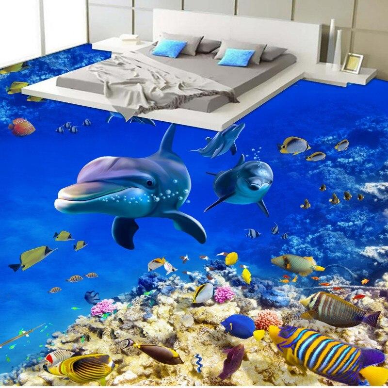 купить Free Shipping waterproof wear floor mural HD blue underwater world bathroom kitchen 3D floor wallpaper дешево