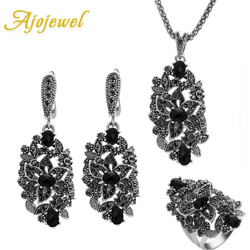 Ajojewel Brand Vintage Jewelry Sets For Women Black Crystal Hollow Flower Necklace Earrings Ring Jewerly