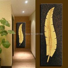 Large Handmade vertical painting gold Banana leaf Canvas Wall Art golden feather Oil Painting Artwork Home Hotel stairway