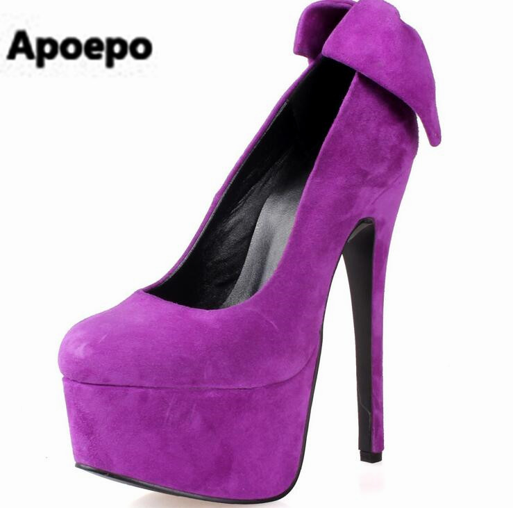 Apoepo brand pumps purple black platform pumps shoes butterfly-knot shallow women shoes thin heels super high heels shoes women apoepo brand 2017 zapatos mujer black and red shoes women peep toe pumps sexy high heels shoes women s platform pumps size 43