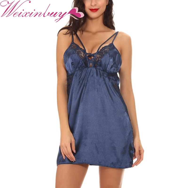 WEIXINBUY Large Size Sexy Nightwear Sleeveless Lace Cup   Sleepshirt   Mini V-neck Sleeveless Silk   Nightgowns   Home Nightdress