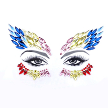 Women Forehead Jewelry Glitter Sticker Removable Face Eyes Makeup Adhesive Crystal Diamond Gems For Masquerade Ball 4pcs/lot