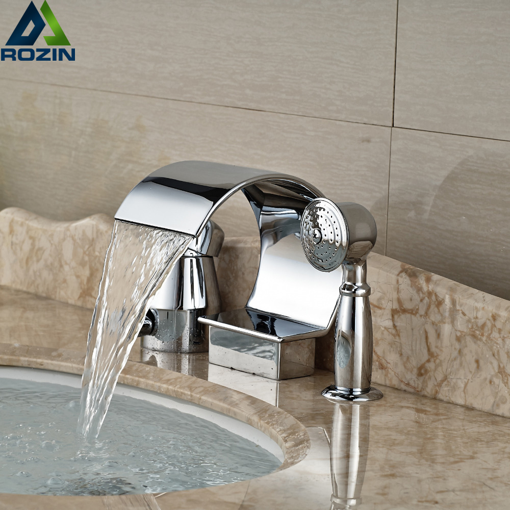 Deck Mount Waterfall Spout Bathroom Tub Faucet Single Handle 3pcs Bathtub Mixer Taps with Handshower brand new chrome finish waterfall spout bath faucet tap deck mount bathtub mixer taps with handshower