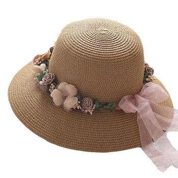 Summer Womens Flower Straw Hats Garland sunbonnet bucket hat  Wide Brim Sun Beach Hat Fedora Trilby Chapeu Feminino