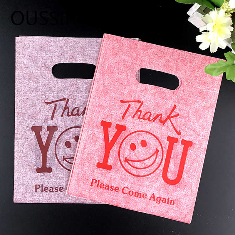 50PCS/Lot Lovely Thank You Print Plastic Gift Bags With Handle Party Favor Mini Jewelry Boutique Gift Packaging Shopping Bags