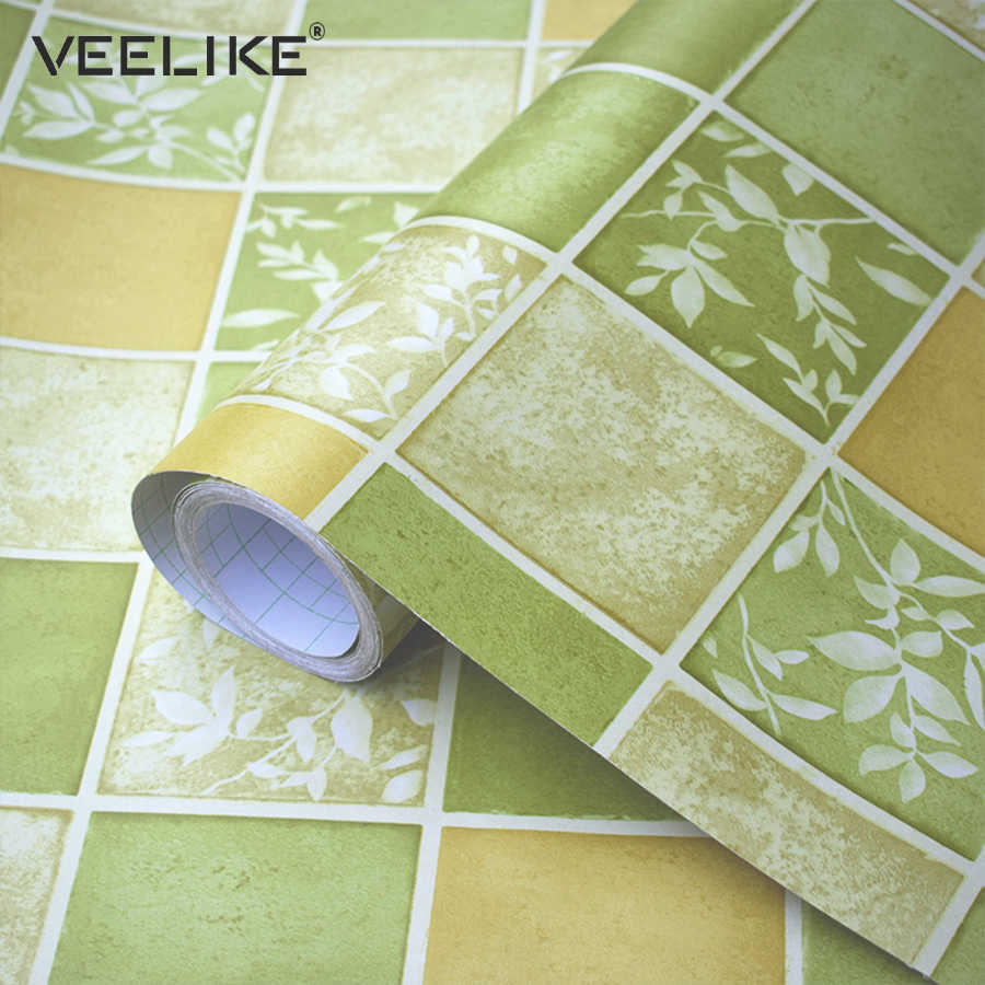 Pvc Bathroom Wallpaper For Kitchen Backsplash Tile Wall Covering Waterproof Mosaic Vinyl Self Adhesive Wallpaper Roll Home Decor