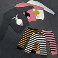 BBK Autumn and winter Sweaters Double deck Keep warm kids Boys and girls are adorable rabbit sweaters Maoku double striped a set