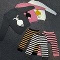 BBK Outono e Blusas de inverno Double deck Manter as crianças quentes Meninos e as meninas são adorável coelho camisolas Maoku duplo listrado um conjunto