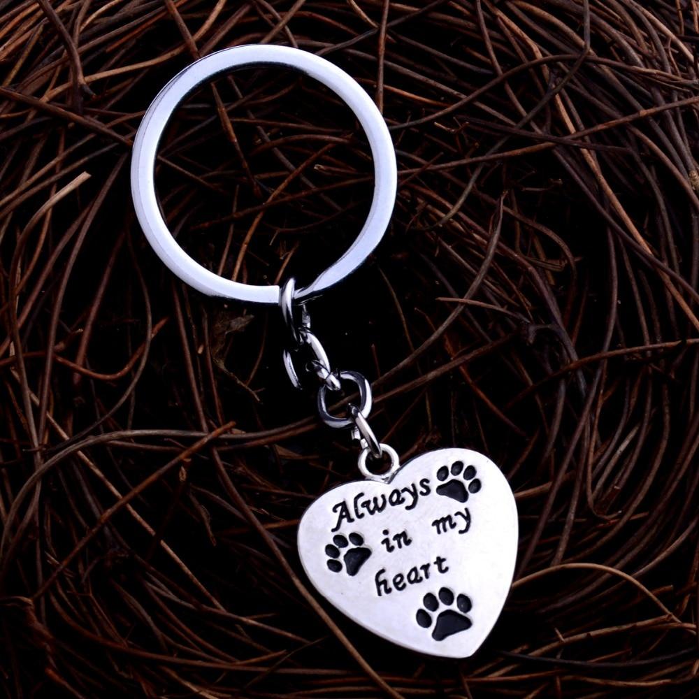 New Always In My Heart Love Dog Paws Print Keyring Keychain Charm Jewelry Women Men Key Chain Birthday Party Gift Car Bag Keyfob