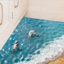 1X 3Dมิติสีฟ้าน้ำทะเลกันน้ำชั้นสติกเกอร์พื้นดินห้องน้ำพื้นหลังสติกเกอร์สระว่ายน้ำผนังสติ๊กเกอร์