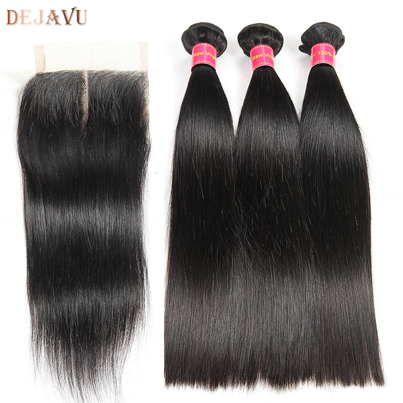Dejava Hair Brazilian Straight 3 Bundles With Closure Middle Part 100% Human Hair Bundles with Closure Natural Color Non Remy