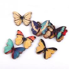 50PCS Colorful butterfly pattern wooden DIY Children table bottle wall pictures home decora rustic wedding baby shower favor
