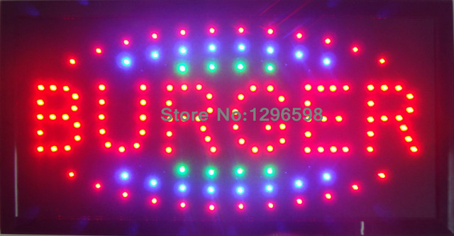 2016 New selling Led burger shop open sign direct Selling custom Graphics indoor running 10X19 inch burger store led sign