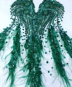 Image 5 - 손으로 만든 라인 석 아플리케 메쉬 딥 그린 트림 패치 66*34 cm 웨딩 드레스 액세서리 7 색