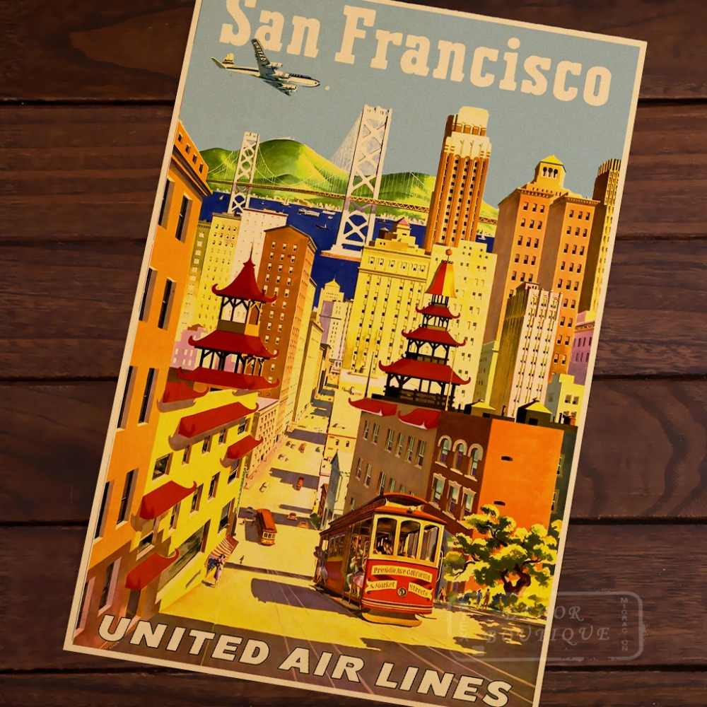 Mapa de arte Pop de San Francisco United aerolíneas clásico Vintage Retro Kraft lienzo póster Maps Home Bar Posters decoración de pared regalo