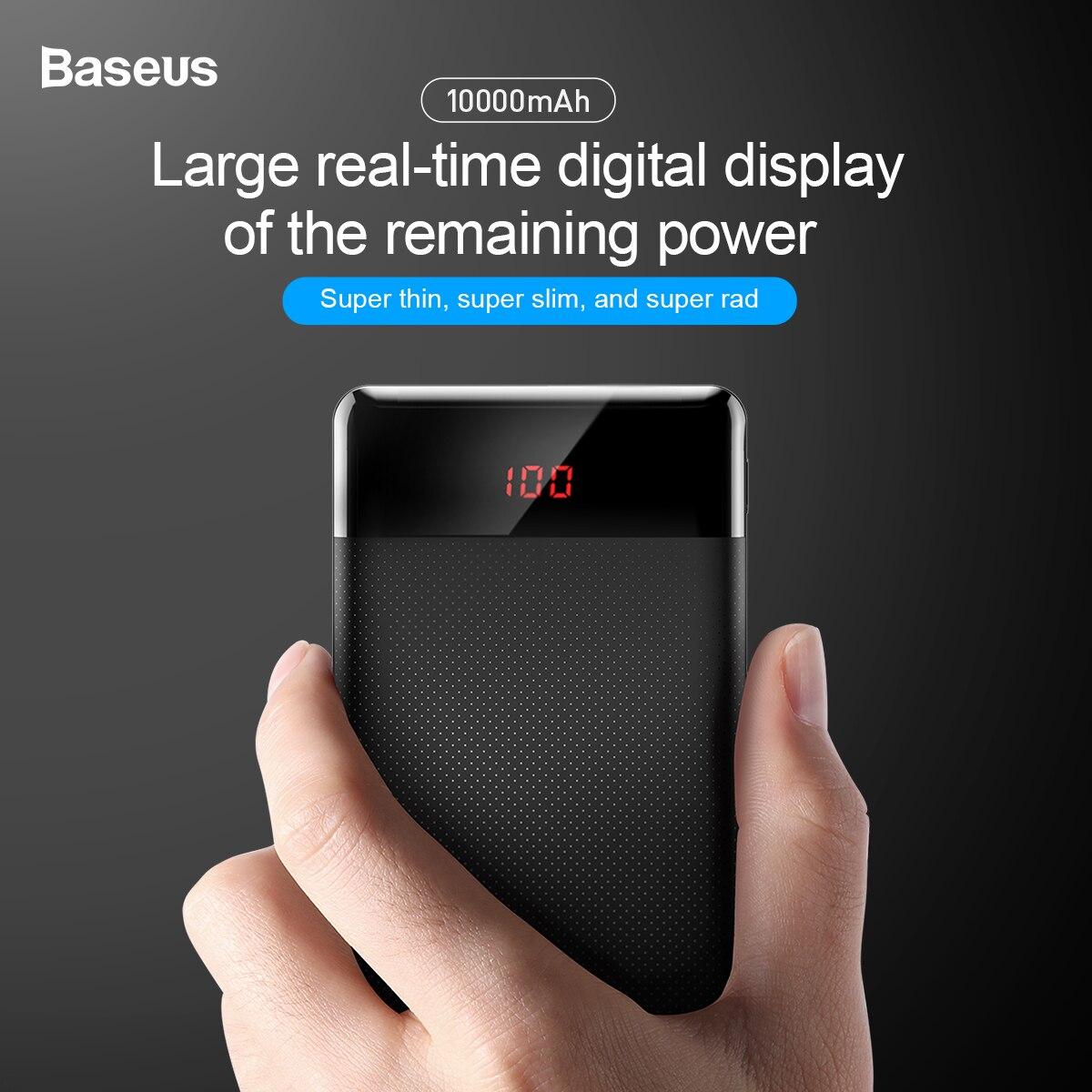 Baseus 10000mAh Power Bank Dual USB LCD Powerbank