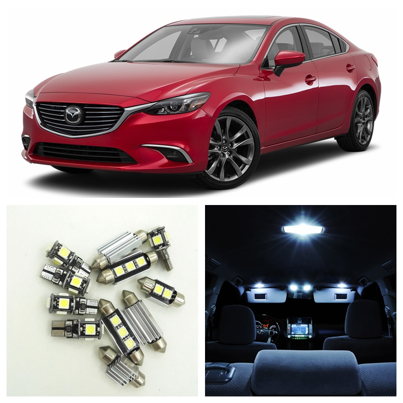 13pcs White Car LED Light Bulbs Interior Package Kit For 2014 2015 2016 2017 Mazda 6 Map Dome Step/Courtesy License Plate Lamp psg nike гетры nike psg stadium sx6033 429