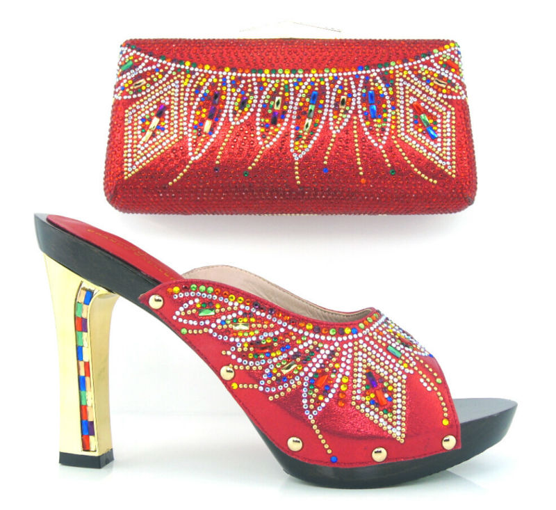 ФОТО Item No.DF16-100 RED Hot sale Italian style shoes matching with bags with rhinestone