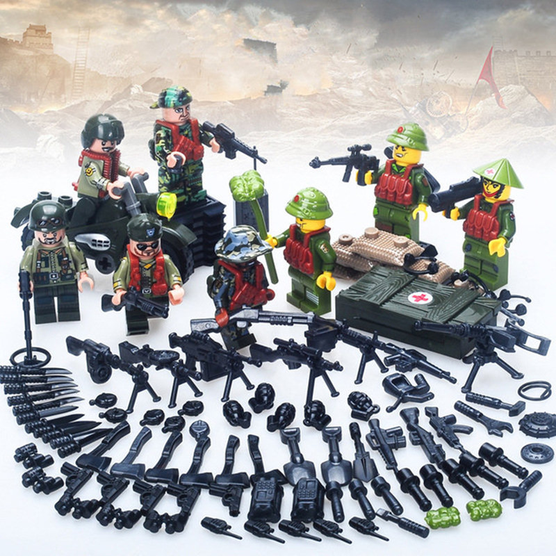 [Bainily]6pcs With many weapons military army soldiers building set blocks best toys for children compatible legoINGly weapon pvc building blocks army field combat military escort weapons