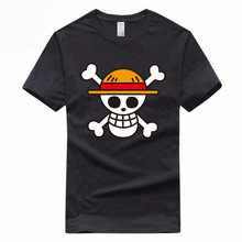 5d34dc46b One piece Pirates logo European Size Hip Hop T-shirt Summer Casual 100%  Cotton