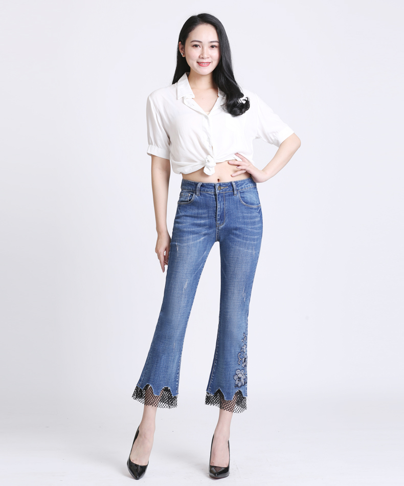 KSTUN jeans trousers for women high waist slim fit flared pants embroidery floral bell bottoms lace net pantacourt homme large 11
